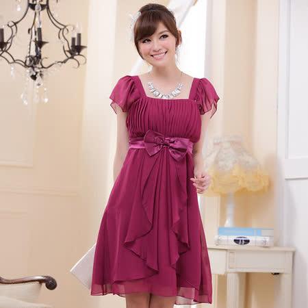 【白色戀人中大尺碼】紫紅色荷葉袖高腰顯瘦小禮服