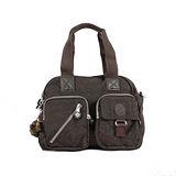 【Kipling】BASIC系列 肩背2用雙口袋機車包 茶色 373-3636-744