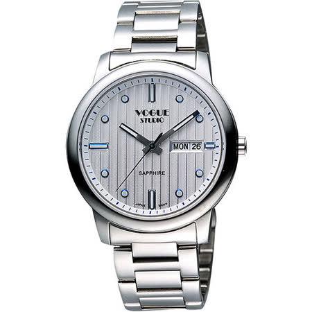 VOGUE 時尚藍寶石水晶日期腕錶-銀 7V3934SS