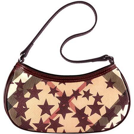 BURBERRY 紅色亮面漆皮PVC格紋手提包