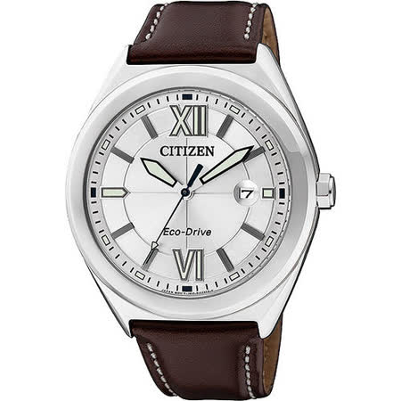 CITIZEN Eco-Drive METAL 羅馬時尚腕錶-銀x咖啡 AW1170-00H