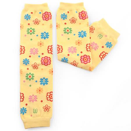 日本Leg'Woo襪套-繽紛花朵(鵝黃)