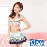 【SUMMERLOVE 夏之戀】異國風花彩鋼圈比基尼三件式泳衣E13722