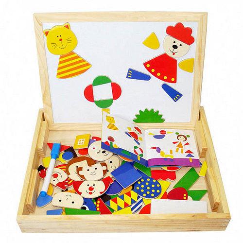 兒童兩用磁性積木畫板(動物世界)-2入