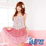 【SUMMERLOVE 夏之戀】優雅玫瑰時尚三件式泳衣E13738