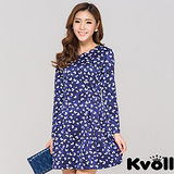 【KVOLL中大尺碼】深藍色花瓣領口印花連衣裙