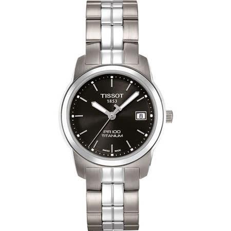 TISSOT PR100 經典瑞士石英鈦金屬女錶-黑 T0493104405100