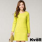 【KVOLL中大尺碼】黃色OL簡約氣質毛呢連衣裙