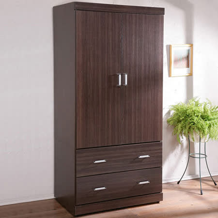 《Homelike》都會時尚3尺衣櫥-胡桃木紋