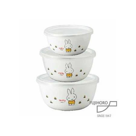 【富士琺瑯FUJIHORO】米飛兔保鮮琺瑯碗3入組 / MF-300