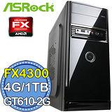 華擎760平台【戰國精兵】AMD FX四核 GT610-2G獨顯 1TB燒錄電腦