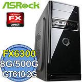華擎760平台【戰國劍客】AMD FX六核 GT610-2G獨顯 500GB燒錄電腦