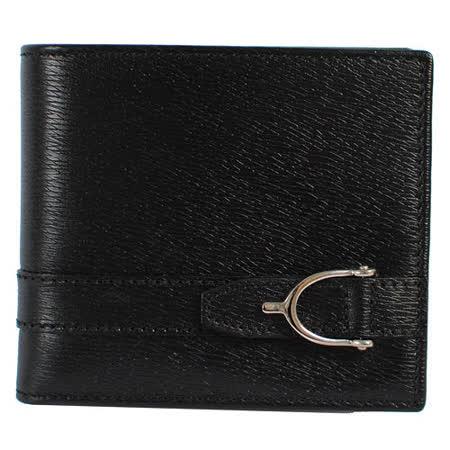 GUCCI  簡約質感全皮革壓紋皮帶飾釦短夾.黑