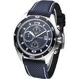 CITIZEN OXY 動感新系列三眼計時腕錶-藍/帆布AN3440-02L