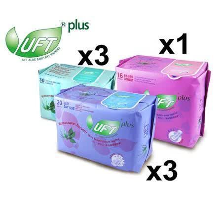UFT蘆薈草本衛生棉--7件綜合體驗A組 (清新日用型*3+安心夜用型*1+護墊*3)