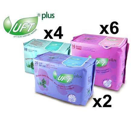 UFT蘆薈草本衛生棉--清馨佳人12件B組 (清新日用型*2+安心夜用型*6+護墊*4)
