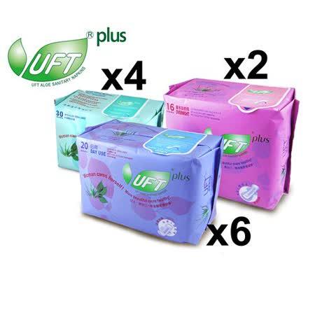 UFT蘆薈草本衛生棉--清馨佳人12件A組 (清新日用型*6+安心夜用型*2+護墊*4)