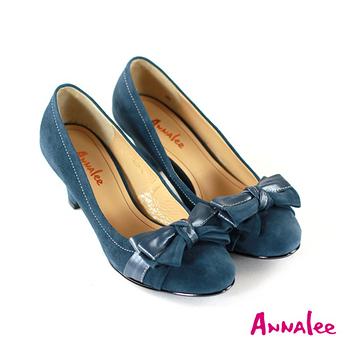 ANNALEE 漸層蝴蝶結內真皮低跟鞋-藍色/黑色