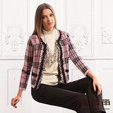 【麥雪爾】典雅花朵千鳥格紋羊毛針織外套