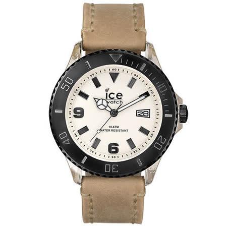 ICE-Watch VINTAGE系列 仿舊造型皮革運動風腕錶-細沙黑褐-/50mm