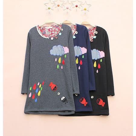 【Maya Collection森林系】雲朵,彩色雨滴刺繡加絨保暖棉T