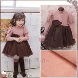 【Little Muffin小馬芬】韓 摩卡公主袖鋪棉保暖洋裝100-140 WMI127