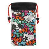 【KISS HELLO KITTY 】4.7吋通用搖滾雙層收納束口袋-彩色蝴蝶結