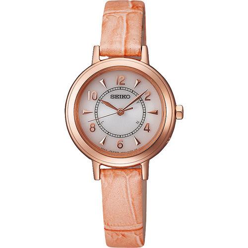 SEIKO 都會仕女太陽能電波腕錶~白x玫瑰金框粉橘錶帶 3B51~0AW0P
