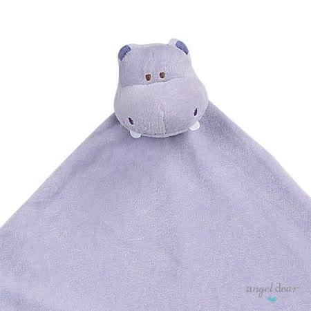 美國 Angel Dear 大頭動物嬰兒毛毯 (紫色河馬)