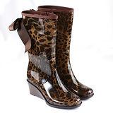 【GP bird 波兒德】都會時尚楔型中筒坡跟蝴蝶結側拉+奢華豹紋雨靴雨鞋-咖啡