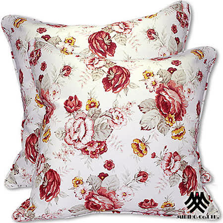 《M.B.H─玫瑰花園》純棉防潑水抱枕(白)(2入)