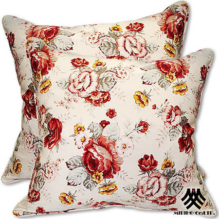 《M.B.H─玫瑰花園》純棉防潑水抱枕(米)(2入)