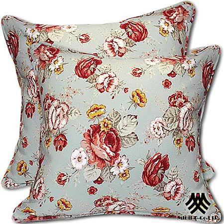 《M.B.H─玫瑰花園》純棉防潑水抱枕(綠)(2入)
