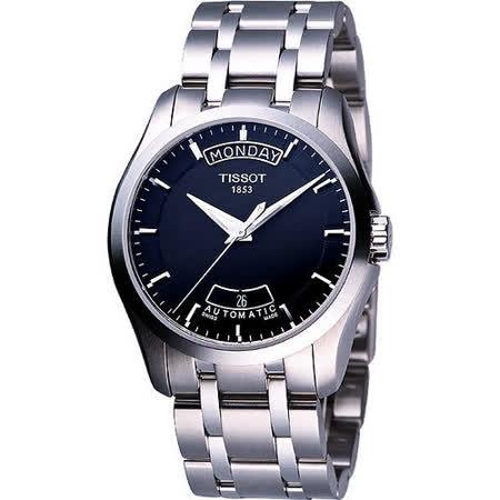 TISSOT Couturier 建構師系列大三針機械錶-黑 T0354071105100