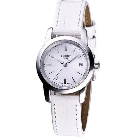 TISSOT CLASSIC DREAM 經典皮帶女錶-白 T0332101611100