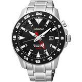 SEIKO Sportura 人動電能GMT霸氣腕錶-黑/銀 5M85-0AA0D