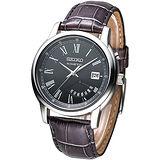 SEIKO KINETIC 羅馬風尚人動電能腕錶-黑SRN035P1