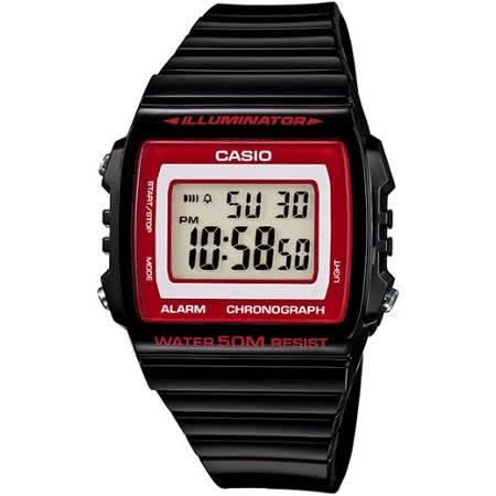 CASIO 繽紛個性馬卡龍休閒電子錶(黑/紅框)W-215H-1A2