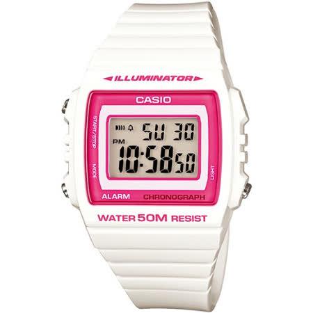 CASIO 繽紛個性馬卡龍休閒電子錶(白/桃紅框)W-215H-7A2