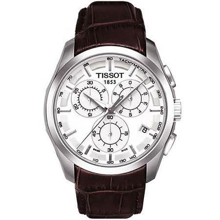 TISSOT T-TREND 三眼計時腕錶-白/皮帶 T0356171603100
