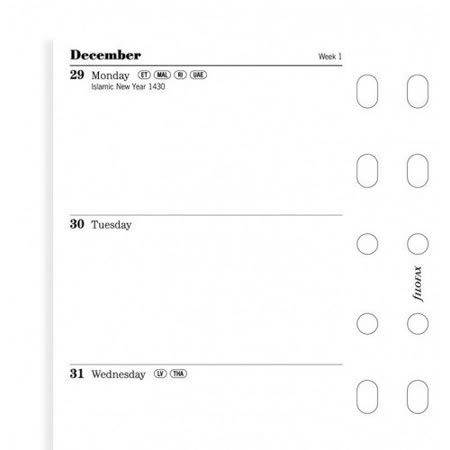 filofax 2014年時效內頁一週二頁計畫表-口袋型