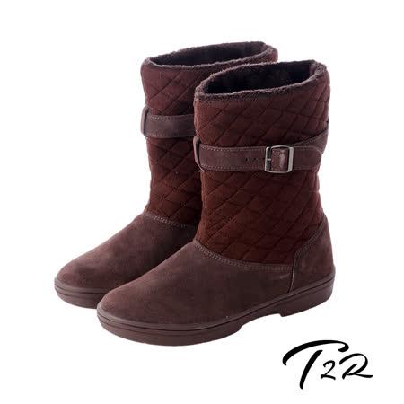 【韓國T2R】名媛必備扣帶菱格拼接真皮隱形內增高雪靴 咖啡 ↑7cm 5500-0701(原裝進口)