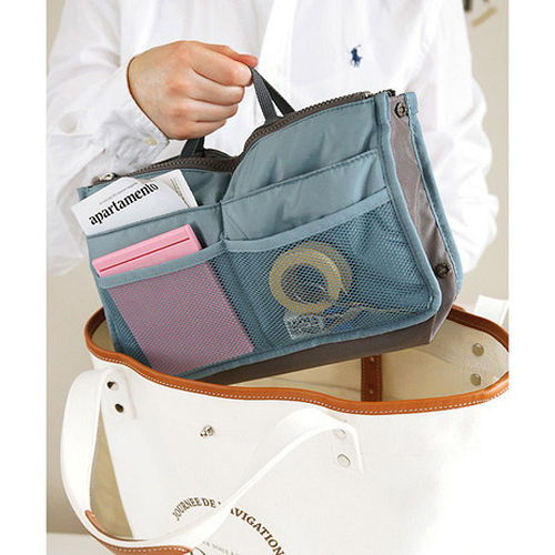 【PS Mall】韓版防水雙拉式多功能收納包 包中包 文具袋 化妝包 (J597)