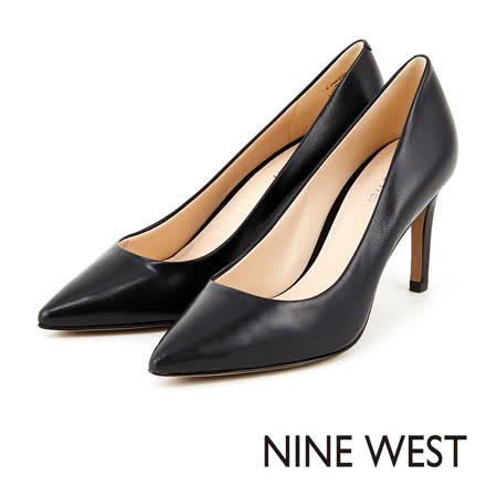NINE WEST 玩美性感魅力 致命圓潤楦頭高跟鞋-經典黑