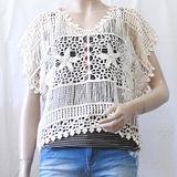 【ZARA】TRF 刺繡花朵網狀造型罩衫(米白)