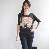【ZARA】BSK 異國風情實搭人物圖案個性潮T(黑)
