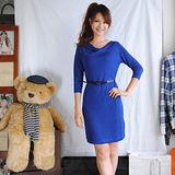 【H&M】氣質典雅針織絲質附腰帶連身裙(藍)