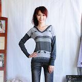 【ZARA】北歐風情雙色細針織長版連帽上衣(灰色)