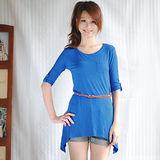 【ZARA】BSK 素雅不規則附腰帶長版連身裙(藍)