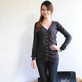 【ZARA】BSK 小V排扣附腰帶長版針織外套(深咖)
